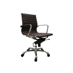 Comfy Low Back Adjustable Leather/Chromed Steel Swivel Office Chair by J&M Furniture