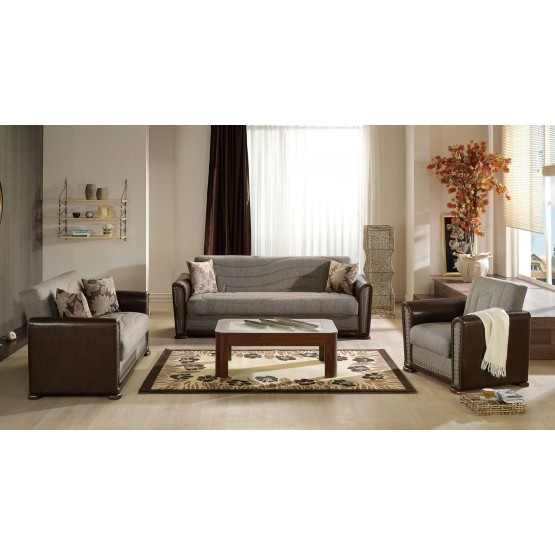 Alfa Fabric/PU Storage Sleeper Living Room Set photo