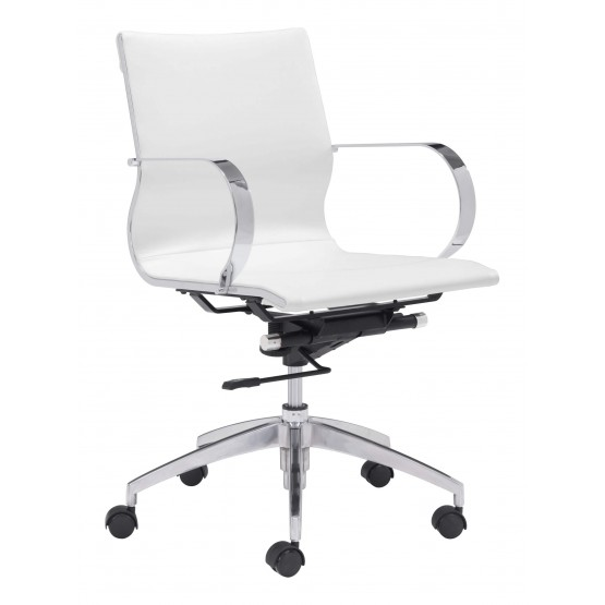 Glider Leatherette Adjustable Height Office Chair w/Low Back photo