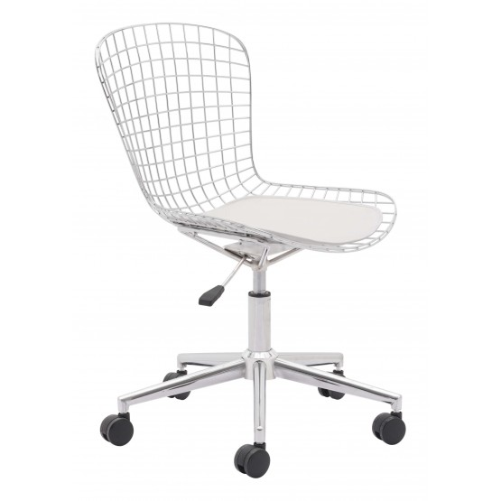 Wire Steel/Leatherette Adjustable Height Swivel Office Chair photo