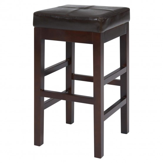Valencia Backless Bicast Leather/Wood Counter Stool photo