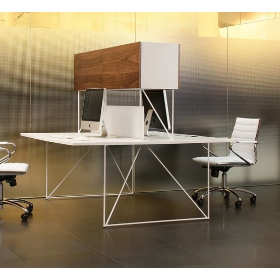 Air Office 2-Desk Bench w/Cable Ports & Cabinet & Screen photo