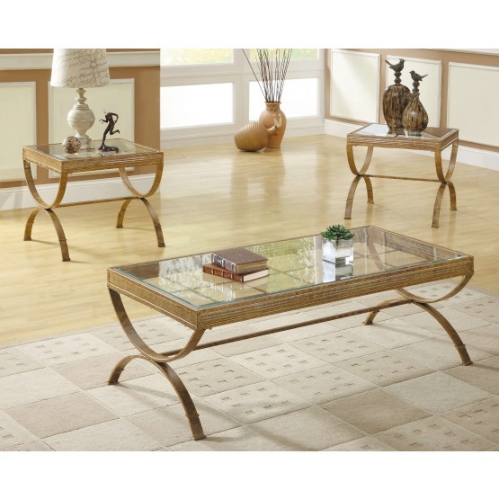 Claro Glass Occasional Table Set (Coffee Table + 2 End Tables) photo