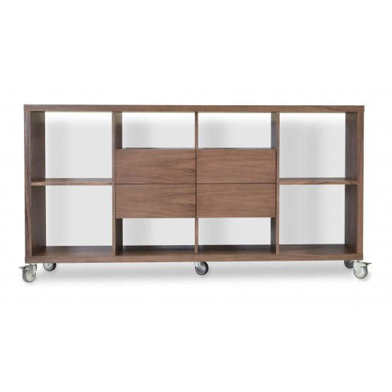 Malta Bookcase With Drawers With Caster, Walnut photo