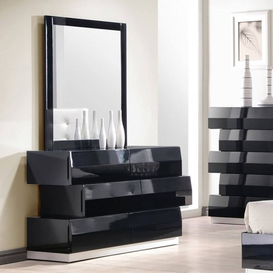 Milan Modern Lacquer Dresser with Mirror photo