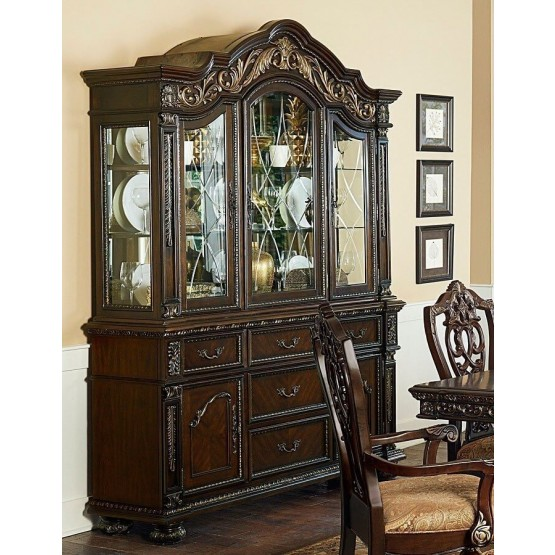 Catalonia Classic Wood China Cabinet photo