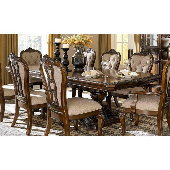 Bonaventure Park Traditional Rectangular Wood Extendable Dining Table photo