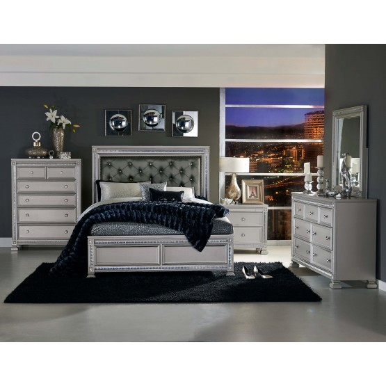 Bevelle Vinyl Tufted Platform Bedroom Set photo