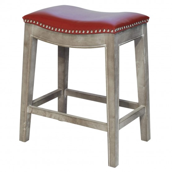 Elmo Bonded Leather Counter Stool, Mystique Gray Legs photo