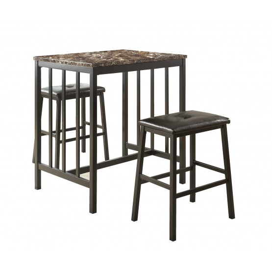 Edgar Industrial Counter Dining Room Set (Table + 2 Chairs) photo
