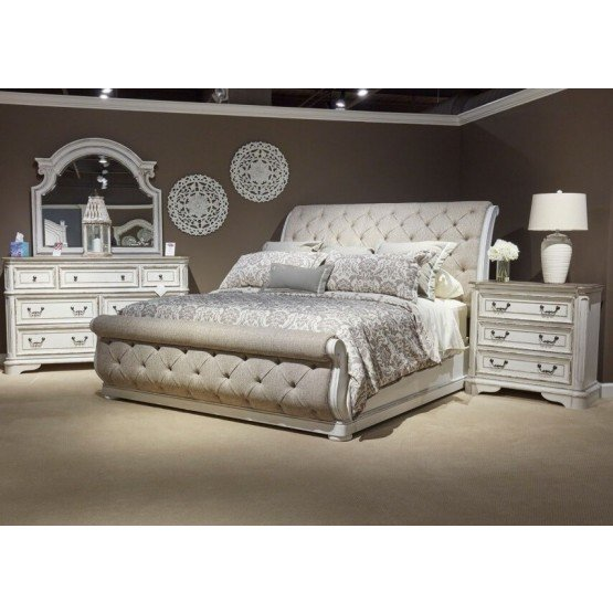 Liberty SM Magnolia Manor Fabric/Wood Sleigh Bedroom Set photo