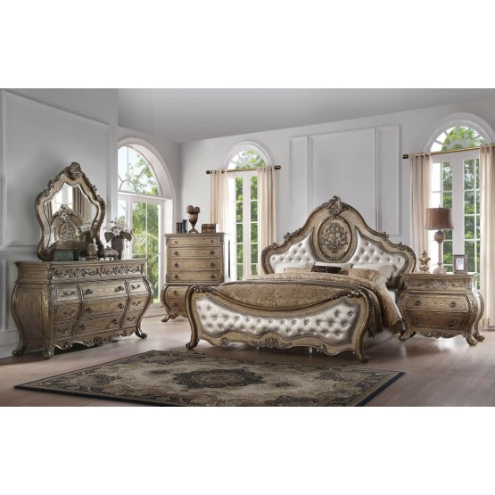 Ragenardus Wood Tufted Panel Bedroom Set photo