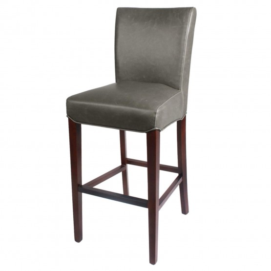 Milton Bonded Leather/Wood Bar Stool photo