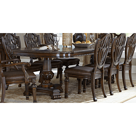 Chilton Traditional Rectangular Wood Extendable Dining Table photo