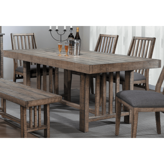 Codie Rustic Rectangular Wood Dining Table photo