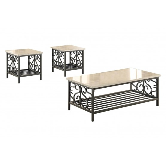 Fairhope Metal Occasional Table Set (Coffee Table + 2 End Tables) photo