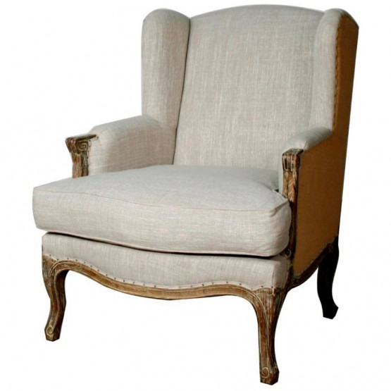 Marie Fabric/Wood Wing Arm Chair photo