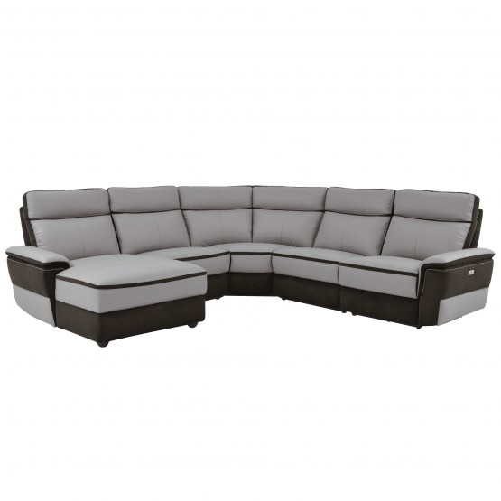Laertes Leather/Leatherette Modular Power Reclining Sectional photo