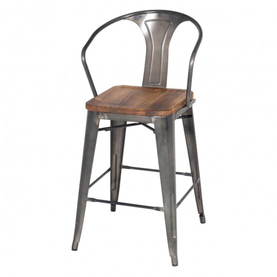 Metropolis Metal Counter Stool, Wood Seat photo