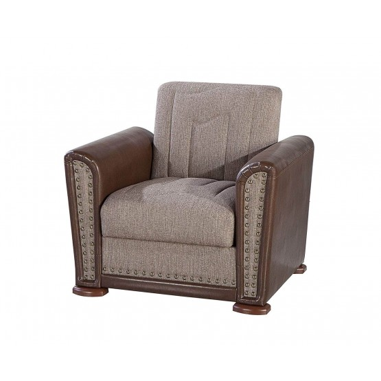 Alfa Fabric/PU Storage Sleeper Armchair photo