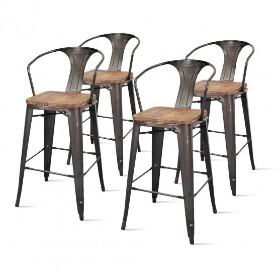 Metropolis Metal Bar Stool, Wood Seat photo
