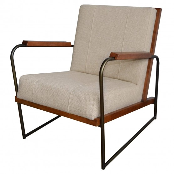 Damian Fabric/Wood/Iron Accent Chair photo