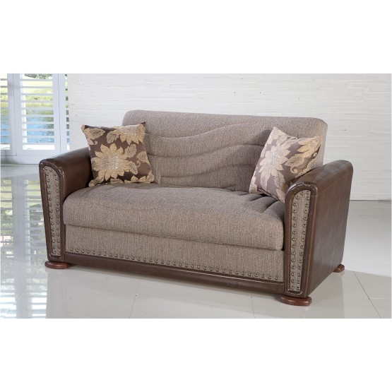 Alfa Fabric/PU Storage Sleeper Loveseat photo