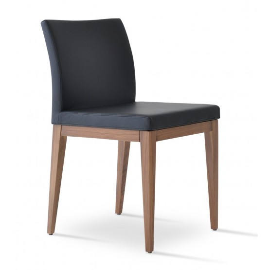 Aria Leatherette Dining Chair w/Wood Base photo