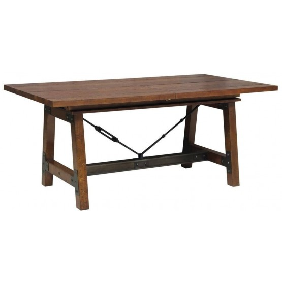 Holverson Industrial Rectangular Wood Extendable Dining Table Brown By Homelegance Sohomod Com