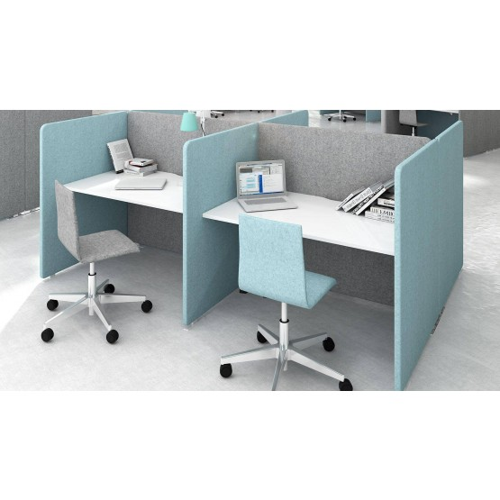 My Space Office Desk w/Acoustic Screens for 4 Persons photo