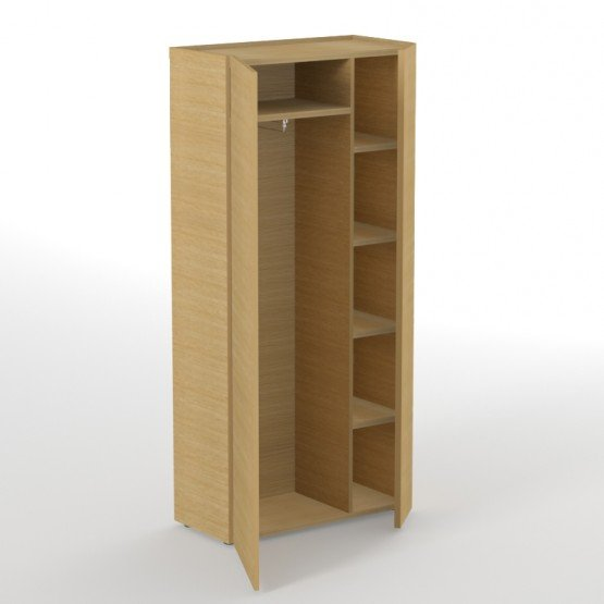 Plana Office Wardrobe w/5 Shelves & Metal pull-out Hanging Rail photo
