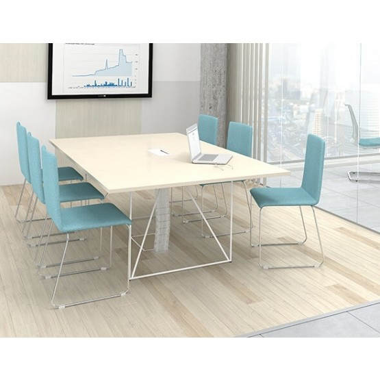 Air Rectangular Meeting Table w/Metal Frame & Grommet for 8 Persons photo