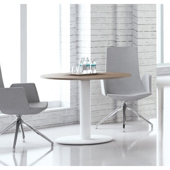Forum Round Meeting Table w/Metal Frame for 3/8 Persons photo