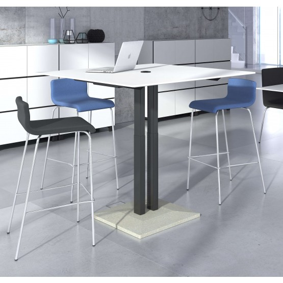 Jazz Square Height Adjustable Meeting Table w/Power Socket for 4 Sit/8 Stand Persons photo