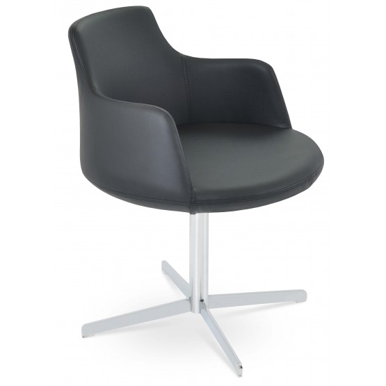 Dervish 4 Star Leatherette Swivel Dining Chair w/Metal Base photo