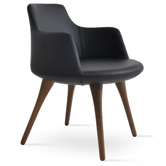 Dervish Leatherette Dining Chair w/Wood Base photo