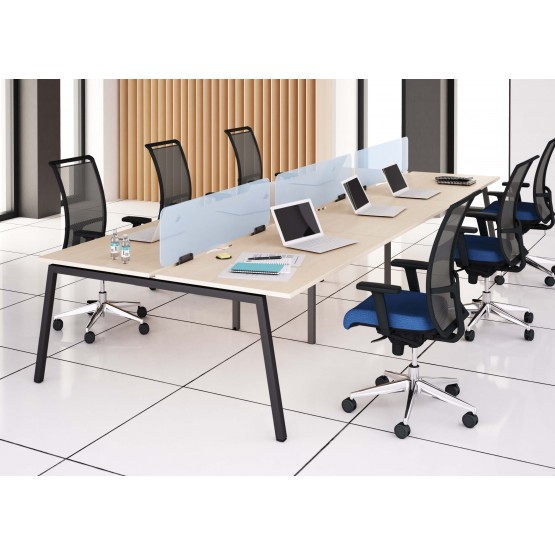 Nova A Office 6-Desk Bench w/Metal Frame & Scallop for Wire Management photo