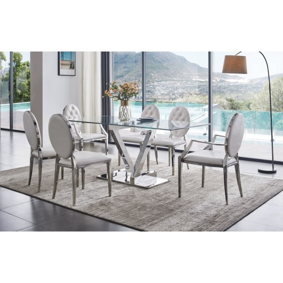 ZZ Rectangular Glass Top Dining Table w/110 Dining Chairs photo