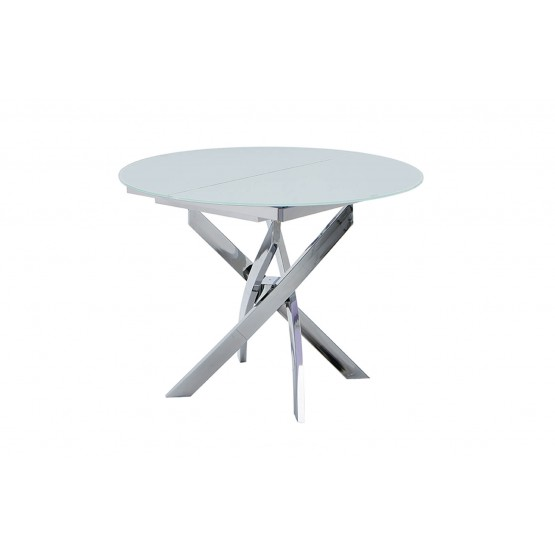 2303 Modern Round Glass Extendable Dining Table photo