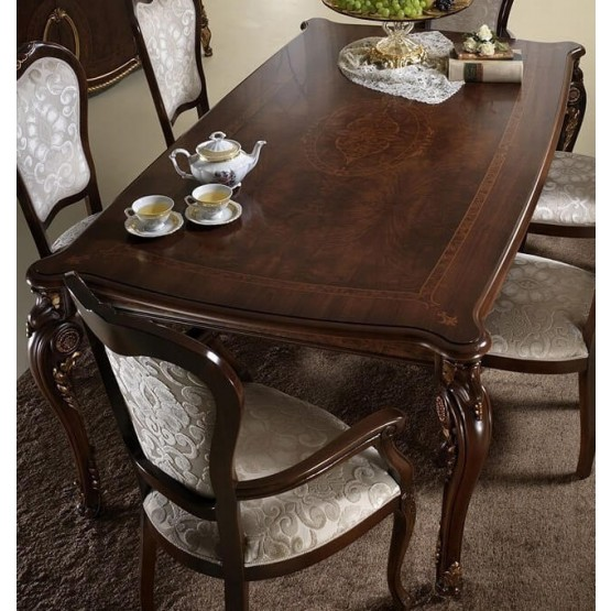 Donatello Classic Rectangular Wood Extendable Dining Table photo