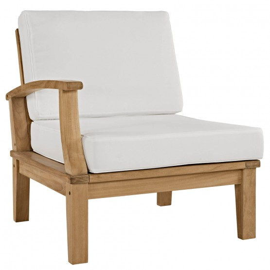 Marina Outdoor Patio Teak Right-Arm Sofa photo