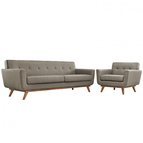 Engage Tufted Fabric Armchair & Sofa (Set of 2) photo