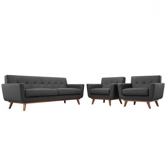 Engage Tufted Fabric Armchairs & Sofa (Set of 3) photo