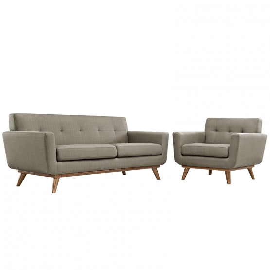 Engage Tufted Fabric Armchair & Loveseat (Set of 2) photo