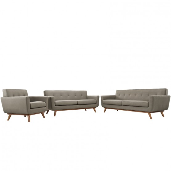 Engage Tufted Fabric Sofa, Loveseat & Armchair (Set of 3) photo