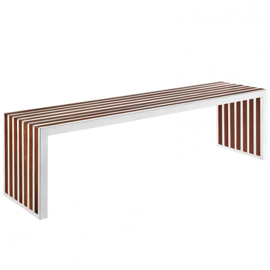 Gridiron Large Wood/Stainless Steel Bench photo
