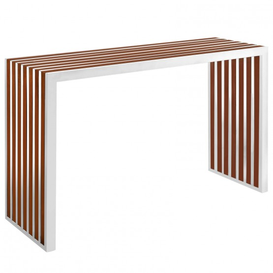Gridiron Wood Inlay Console Table photo