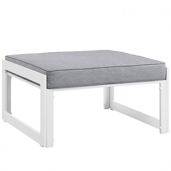 Fortuna Outdoor Patio Ottoman, Gray photo