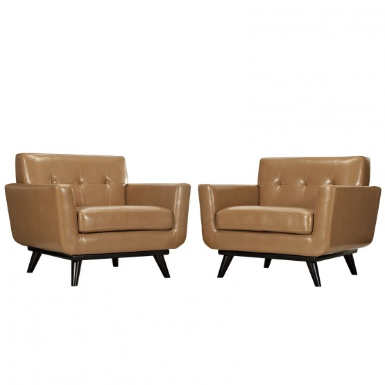 Engage Tufted Leather Armchairs (Set of 2) photo