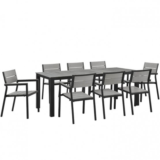 Maine 9 Piece Outdoor Patio Dining Set photo